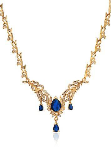 Feather Motif Gilded Silver Blue Spinel Necklace, Length: 50, image