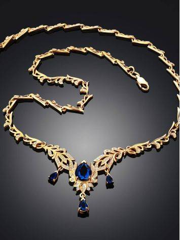 Feather Motif Gilded Silver Blue Spinel Necklace, Length: 50, image , picture 2