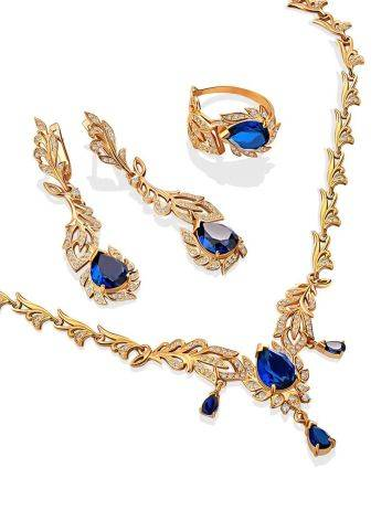 Feather Motif Gilded Silver Blue Spinel Necklace, Length: 50, image , picture 4