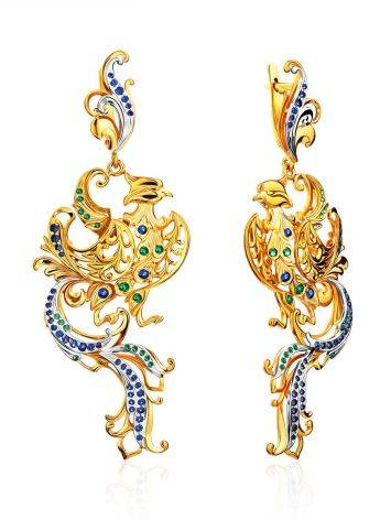 Phoenix Motif Gilded Silver Dangle Earrings, image