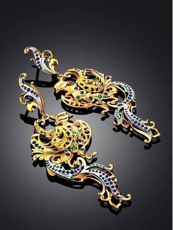 Phoenix Motif Gilded Silver Dangle Earrings, image , picture 2