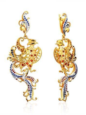 Ornate Phoenix Motif Gilded Silver Dangle Earrings, image
