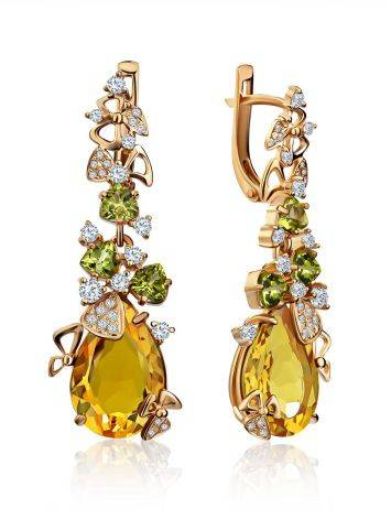 Exquisite Gilded Silver Zultanite Dangle Earrings, image