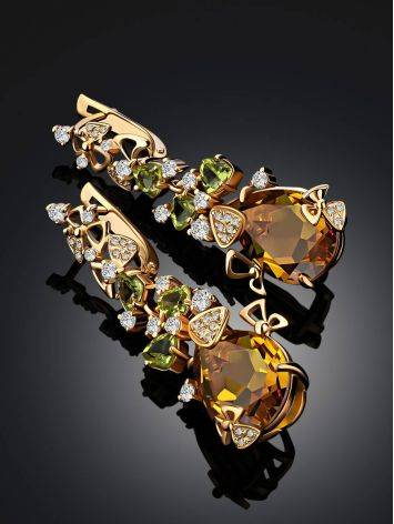 Exquisite Gilded Silver Zultanite Dangle Earrings, image , picture 2