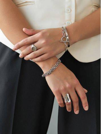 Minimalist Silver Chain T-Bar Bracelet The ICONIC, image , picture 5