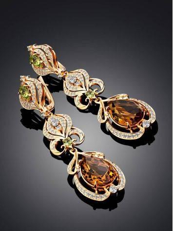 Fabulous Gilded Silver Zultanite Drop Earrings, image , picture 2