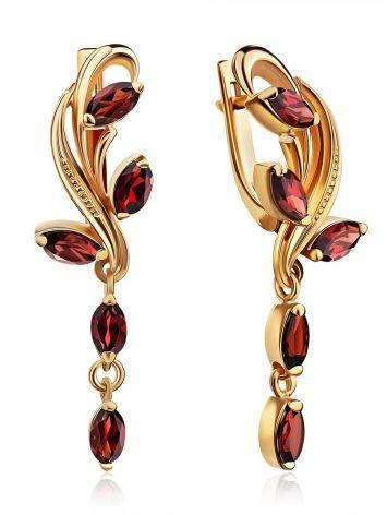 Curvaceous Gilded Silver Garnet Dangle Earrings, image