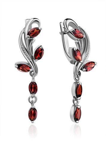 Curvaceous Silver Garnet Dangle Earrings, image