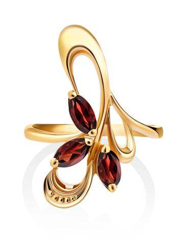 Curvaceous Gilded Silver Garnet Ring, Ring Size: 6.5 / 17, image , picture 3