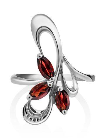 Curvaceous Silver Garnet Ring, Ring Size: 6.5 / 17, image , picture 3