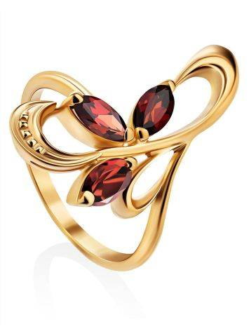 Curvaceous Gilded Silver Garnet Ring, Ring Size: 6.5 / 17, image