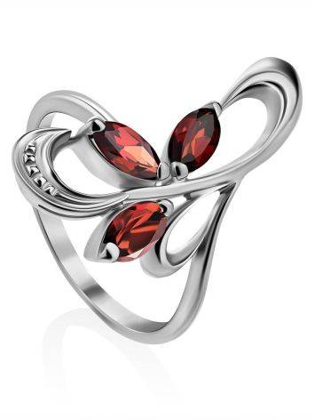 Curvaceous Silver Garnet Ring, Ring Size: 6.5 / 17, image