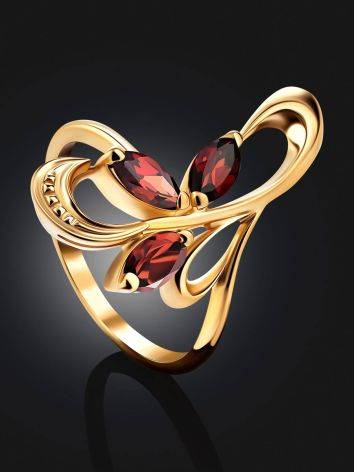 Curvaceous Gilded Silver Garnet Ring, Ring Size: 6.5 / 17, image , picture 2