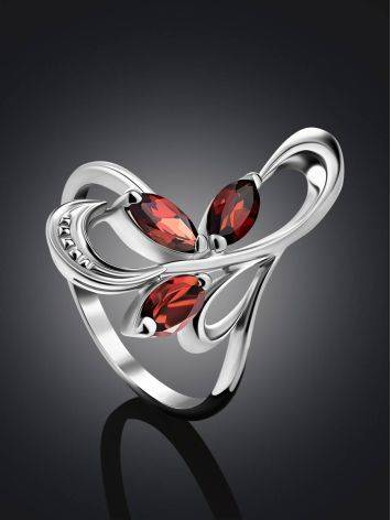 Curvaceous Silver Garnet Ring, Ring Size: 6.5 / 17, image , picture 2
