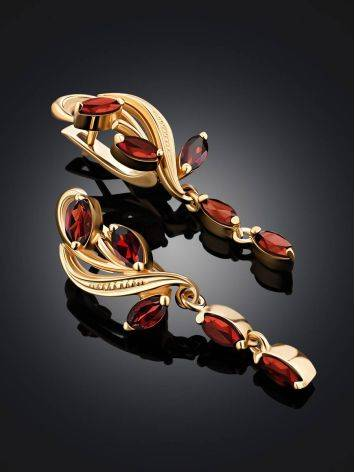 Curvaceous Gilded Silver Garnet Dangle Earrings, image , picture 2