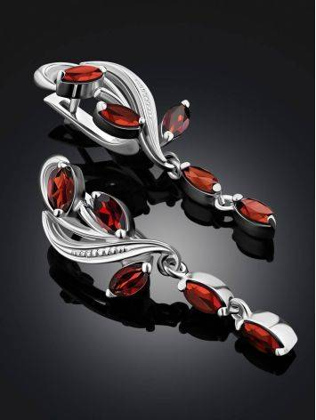 Curvaceous Silver Garnet Dangle Earrings, image , picture 2