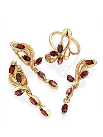 Curvaceous Gilded Silver Garnet Dangle Earrings, image , picture 3