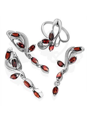 Curvaceous Silver Garnet Dangle Earrings, image , picture 4