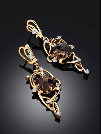 Voluptuous Gilded Silver Smoky Quartz Earrings, image , picture 2