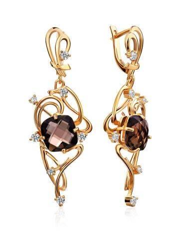 Voluptuous Gilded Silver Smoky Quartz Earrings, image