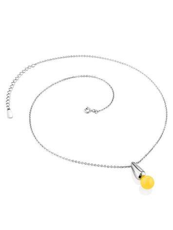 Chic Silver Amber Pendant Necklace The Palazzo, image , picture 3
