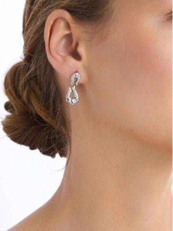 Art Deco Motif Silver Crystal Earrings, image , picture 3