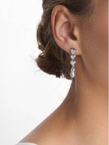 Cute Heart Motif Silver Crystal Stud Dangle Earrings, image , picture 3