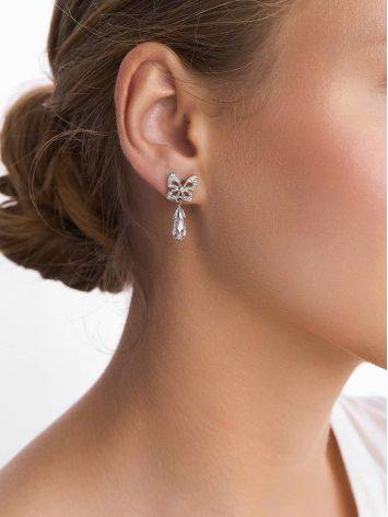 Cute Bow Motif Silver Crystal Dangle Earrings, image , picture 3