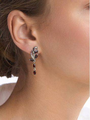 Curvaceous Silver Garnet Dangle Earrings, image , picture 3