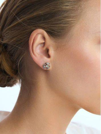 Cute Silver Crystal Stud Earrings, image , picture 3