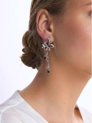 Ultra Feminine Silver Garnet Dangle Earrings, image , picture 3