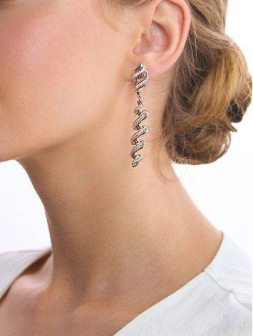 Chic Two Tone Crystal Dangle Earrings, image , picture 3