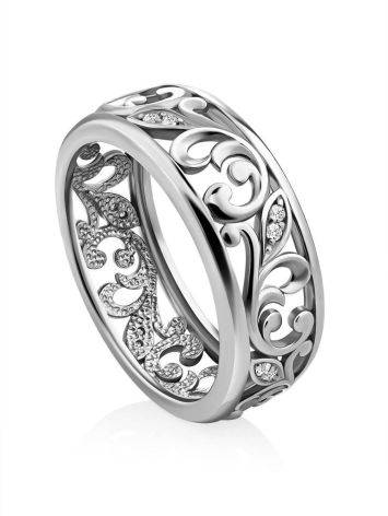 Ornate Silver Crystal Band Ring, Ring Size: 6.5 / 17, image