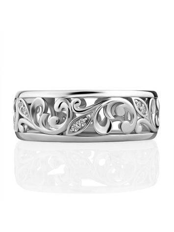 Ornate Silver Crystal Band Ring, Ring Size: 6.5 / 17, image , picture 3
