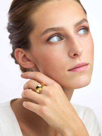 Glossy Gilded Silver Adjustable Ring The Liquid, Ring Size: Adjustable, image , picture 4