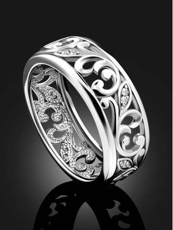 Ornate Silver Crystal Band Ring, Ring Size: 6.5 / 17, image , picture 2