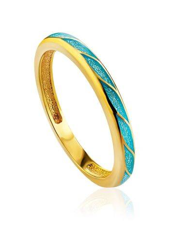 Bright Silver Enamel Ring, Ring Size: 6 / 16.5, image
