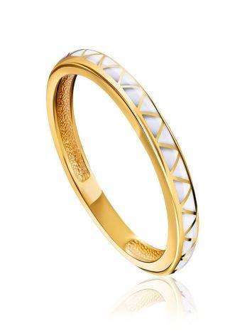 Sleek Slender White Enamel Ring, Ring Size: 6.5 / 17, image