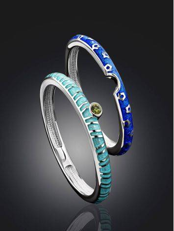 Trendy Silver Enamel Stacking Ring Set, Ring Size: 6.5 / 17, image , picture 2