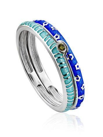Trendy Silver Enamel Stacking Ring Set, Ring Size: 6.5 / 17, image