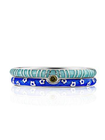 Trendy Silver Enamel Stacking Ring Set, Ring Size: 6.5 / 17, image , picture 4
