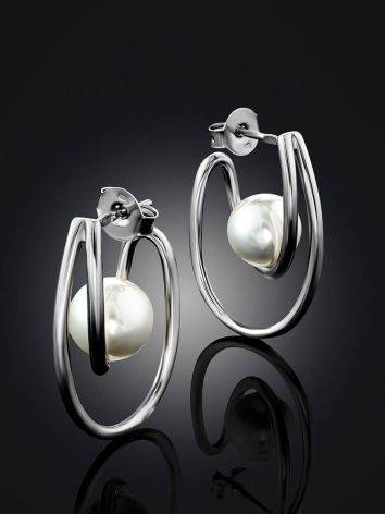 Curvaceous Silver Pearl Stud Earrings The Palazzo, image , picture 2
