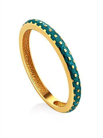 Refined Gilded Silver Enamel Ring, Ring Size: 8 / 18, image