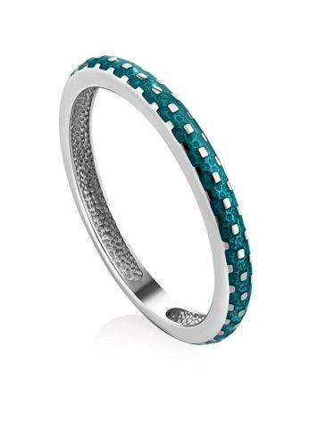 Slender Silver Enamel Ring, Ring Size: 6.5 / 17, image