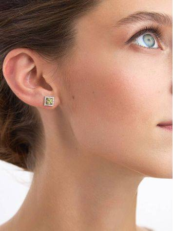 Geometric Silver Chrysolite Stud Earrings, image , picture 3