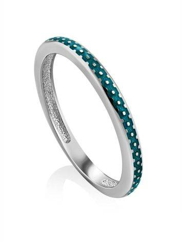 Chic Silver Enamel Ring, Ring Size: 8 / 18, image