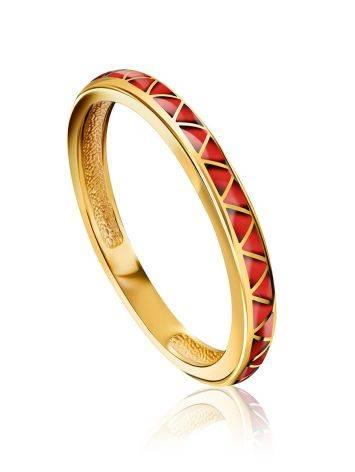 Slender Gilded Silver Enamel Ring, Ring Size: 6.5 / 17, image