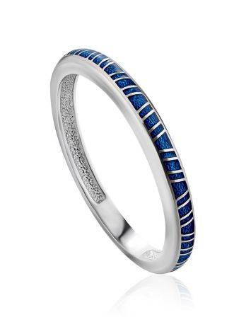 Sleek Silver Enamel Ring, Ring Size: 8 / 18, image