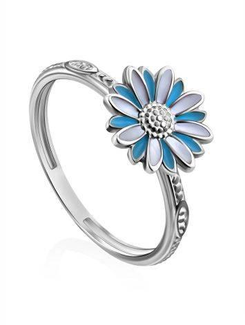 Silver Enamel Daisy Motif Ring, Ring Size: 6 / 16.5, image