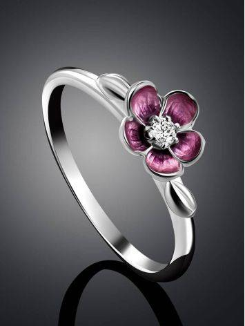 Silver Enamel Cherry Blossom Motif Ring, Ring Size: 6 / 16.5, image , picture 2